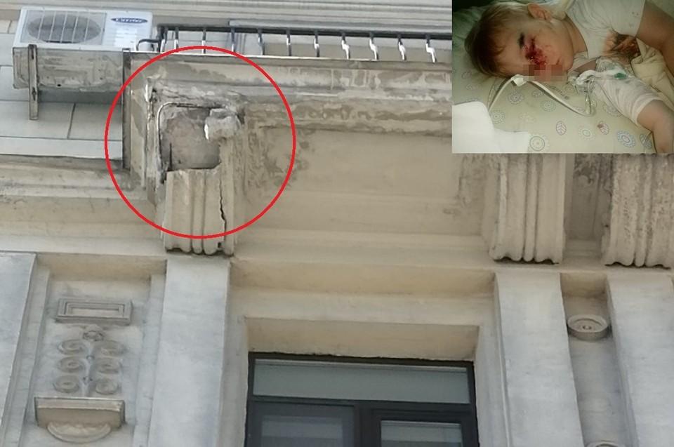 Фасад здания упал прямо в коляску Фото: предоставлено мамой ребенка/ДТП и ЧП Петербурга