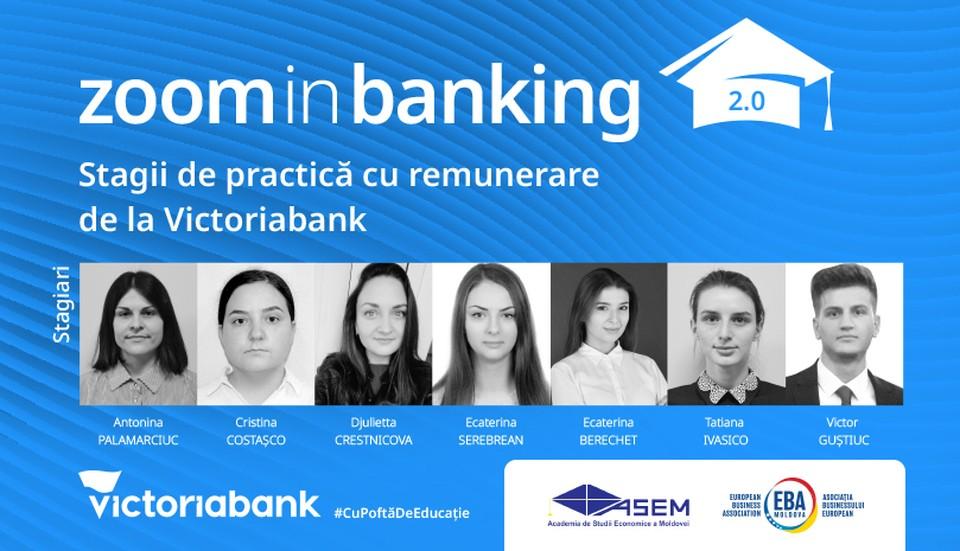 Студенты Академии экономических наук Молдовы окончили теоретические курсы и тренинги, пройдя стажировку в рамках образовательной программы Zoom in Banking. Фото:Victoriabank.md