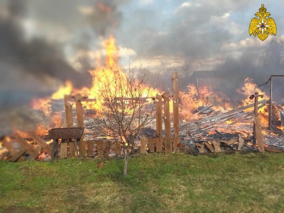 Пожар в Тарусском районе, деревня Исканское