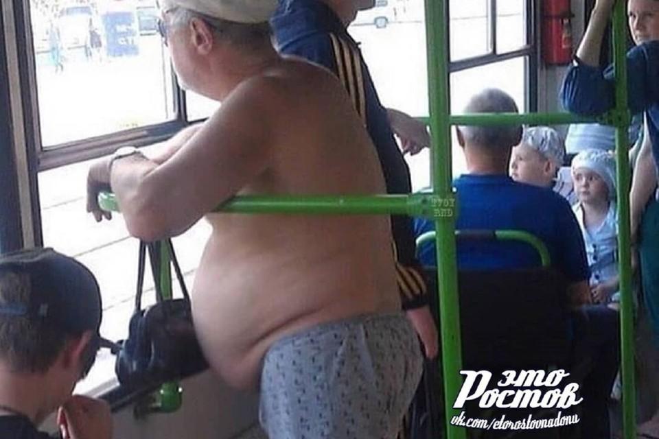 """В ростовском транспорте проехался мужчина в одних трусах. Фото: """"Это Ростов"""""""