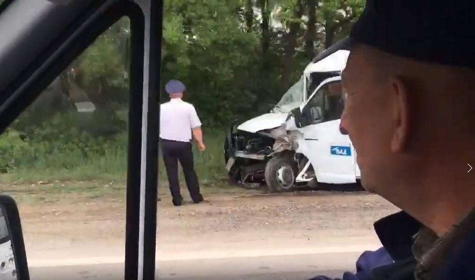 Авария произошла в 08.40 утра. Фото: скриншот из видео/Представитель МВД по РК Наталья Кашкарова.