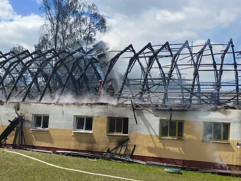 Пожар в конюшне в Ратомке ликвидирован. Фото: МЧС РБ.