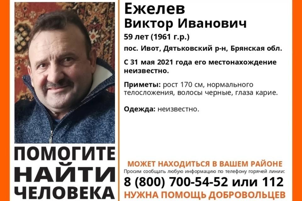 """В Брянской области ищут 59-летнего мужчину. Фото: """"Лиза Алерт""""."""
