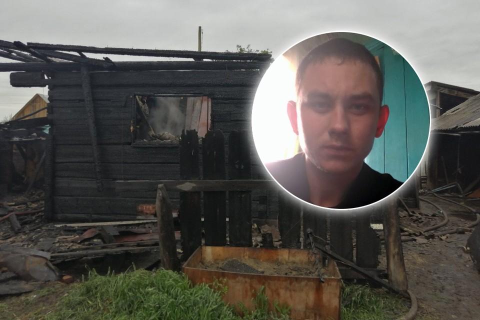На фото сгоревший дом и Максим Ушаков. Фото: ГО ЧС по Бурятии, личный архив Максима Ушакова.
