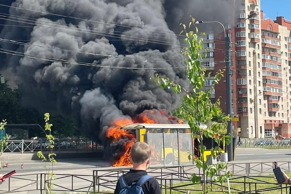 Рейсовый автобус из Кронштадта сгорел на остановке. Фото: vk.com/spb_today