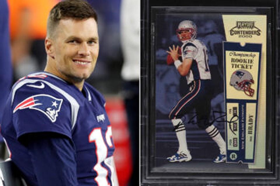 """В марте этого года """"карточка новичка"""", подписанная Томом Брэди была продана на онлайн-аукционе за рекордную сумму"""