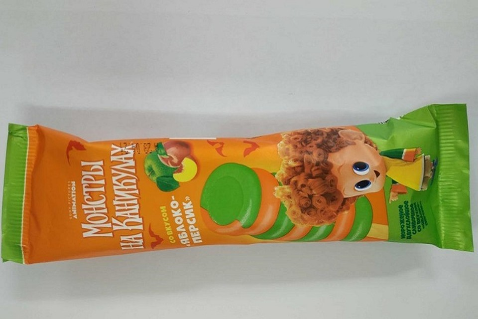 """Мороженое """"Монстры на каникулах"""" со вкусом яблоко-персик попало под запрет в Беларуси. Фото: Госстандарт"""