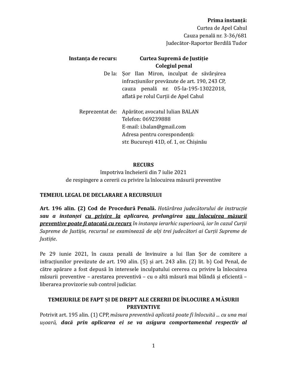 Адвокаты Илана Шора опротестовали сегодня утром вчерашние решение Апелляционной палаты Кагула, которая оставила в силе ордер на его арест. Фото:partidulsor.md