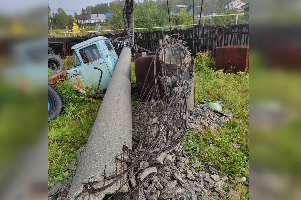 Опора упала во время бури Фото: группа ВКонтакте Сила Березовского в людях