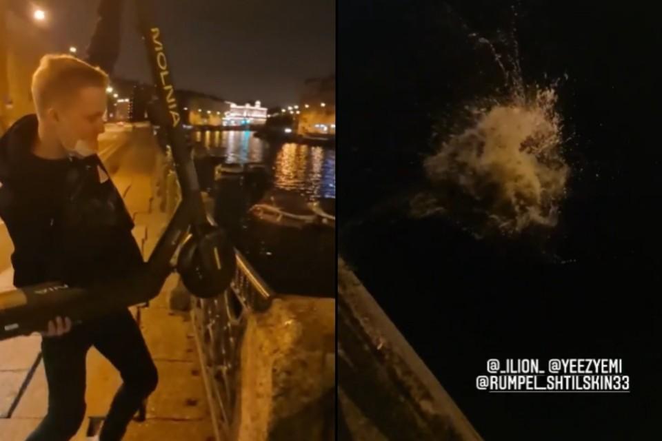 """Петербургский """"Герасим"""" засветил лицо при утоплении электросамоката, поэтому полиции будет несложно найти его. Фото: vk.com/spb_today"""