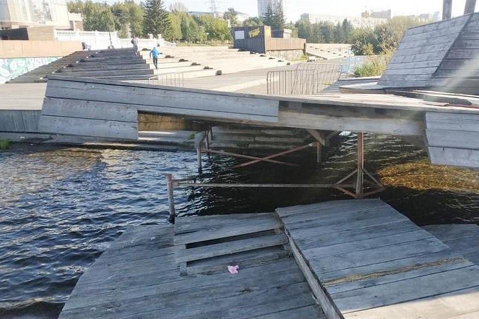 В Красноярске с набережной убирают «Рушник». Фото: пресс-служба администрации города