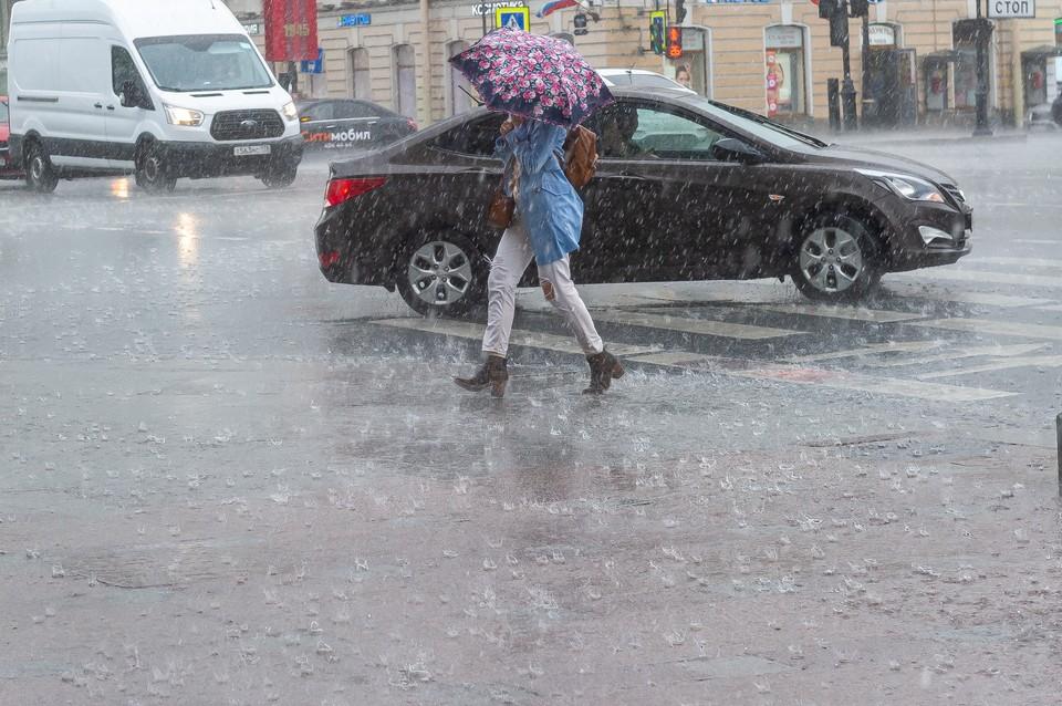 В Петербурге ожидаются дожди и грозы.