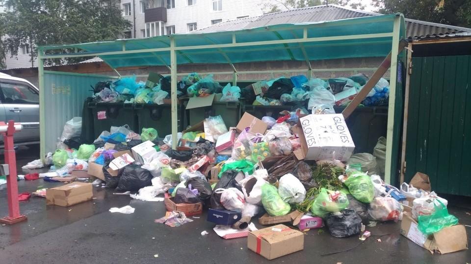 В Тюмени регоператор не смог очистить мусорные контейнеры из-за самосвала дорожной службы.