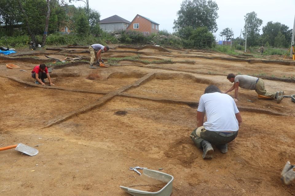 Расчистка поверхности айнского жилища 17-19 века