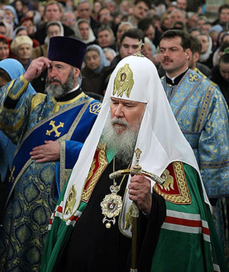Алексий Второй на богослужении в Успенском соборе