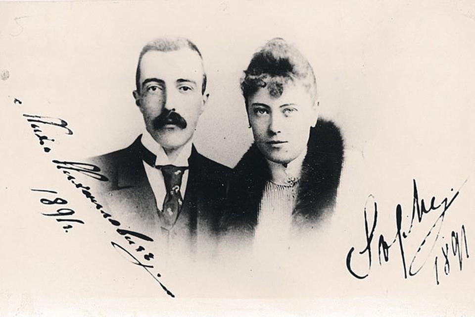 Великий князь Михаил Михайлович с графиней Софи де Торби, внучкой поэта. 1891 год.
