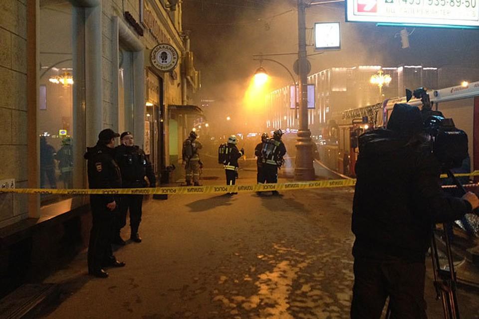 Во время пожара в коллекторе на Тверской пострадали четверо прохожих
