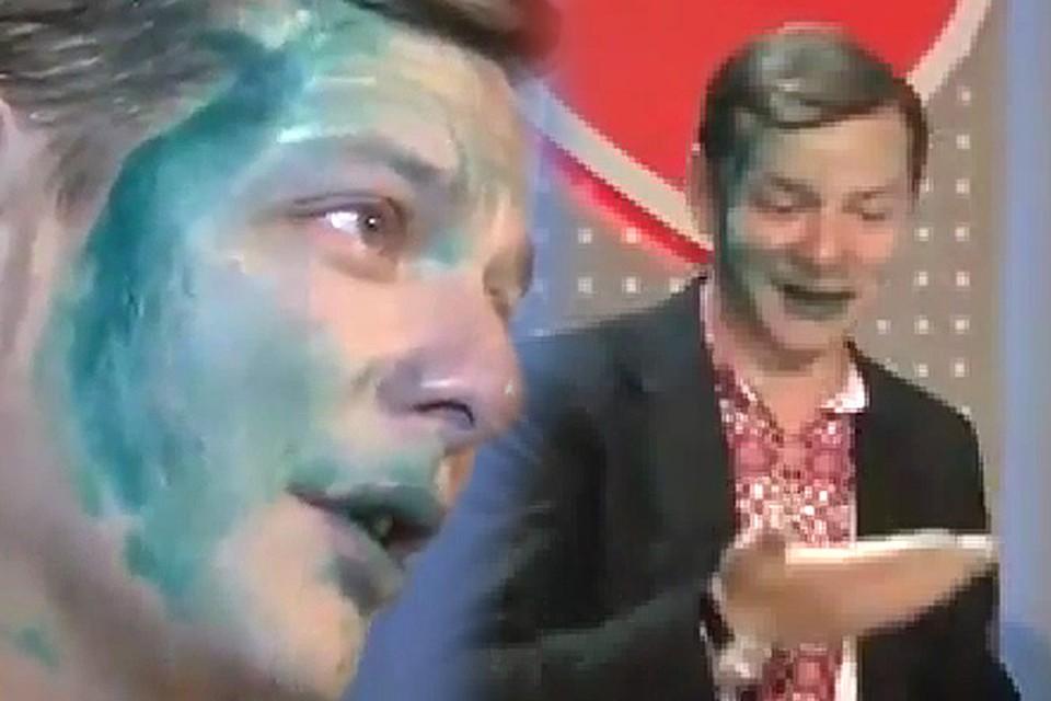 Радикала Олега Ляшко облили зеленкой во Львове