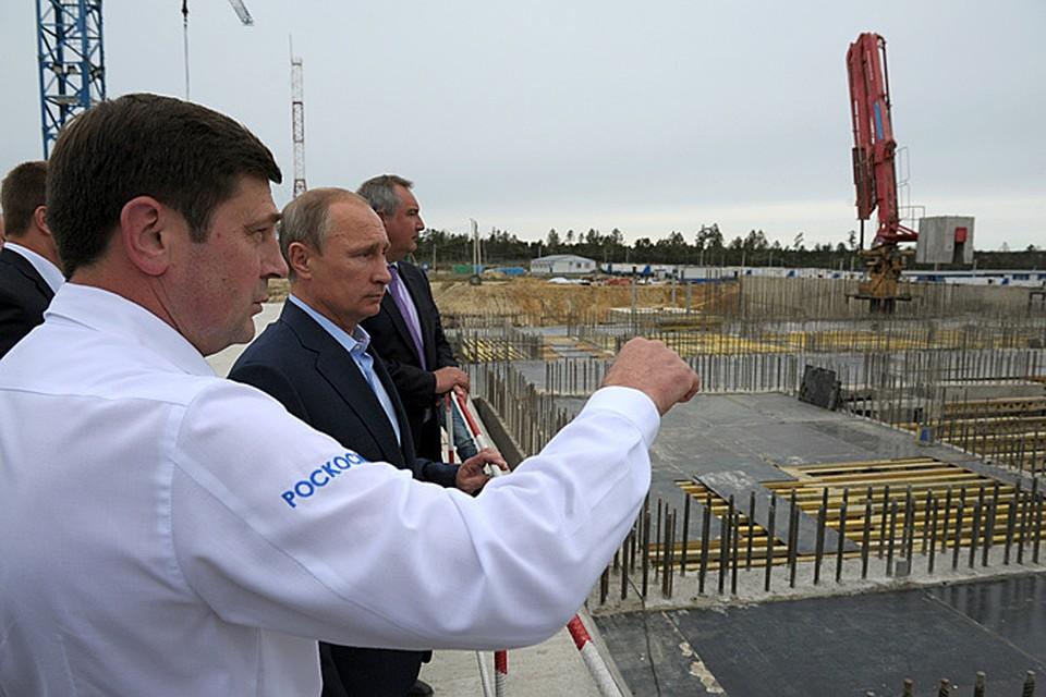 Путин на Восточном при постройке старта для Ангары