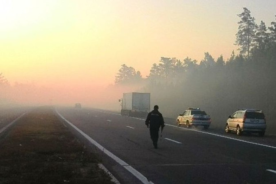 Из-за дыма горящих торфяников произошло ДТП в Бурятии, два человека погибли