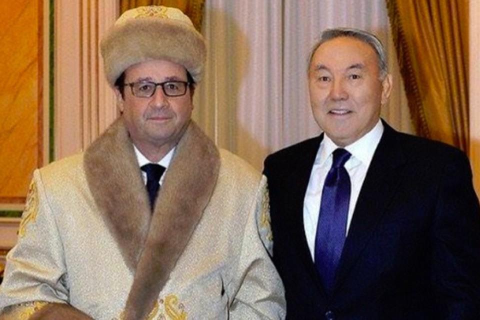 Снимок президента Франции в казахском головном уборе стал хитом интернета