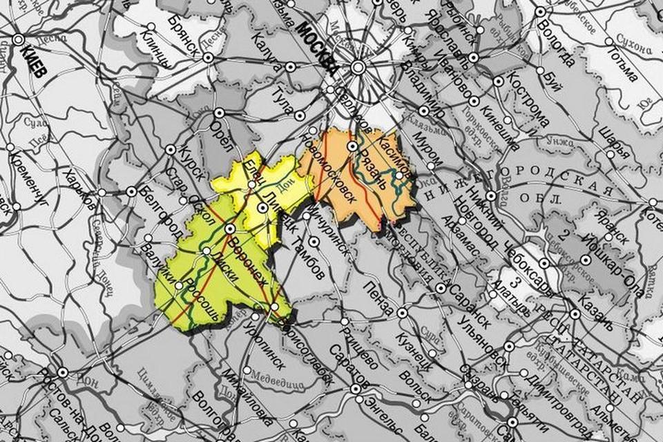 Рязань, Липецк и Воронеж - как вам такой географически вытянутый «трезубец»?