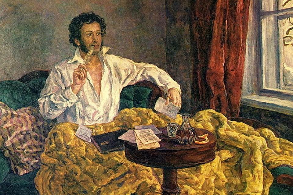 """""""Пушкин в Михайловском"""" (Пётр Кончаловский)."""