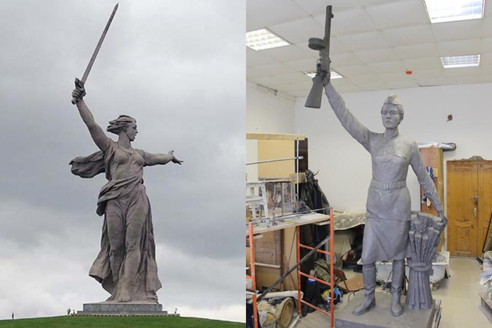 Высота волгоградской скульптуры 85 метров, а воронежской - чуть больше трех.