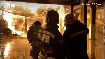 Тушение пожара на заводе Уфаоргсинтез