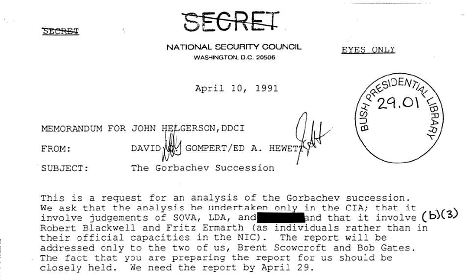 Первая страница документа под номером 50USC4039. Его подготовили 29 апреля 1991 г для президента США Буша-старшего по поручению замдиректора ЦРУ Джона Хелджерсона.