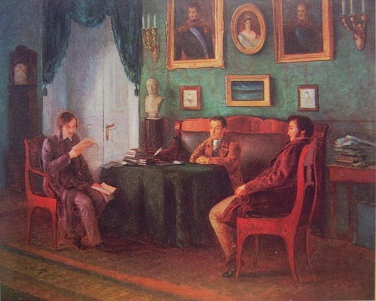 """П.И. Геллер, картина """"Гоголь, Пушкин и Жуковский летом 1831 года в Царском Селе""""."""