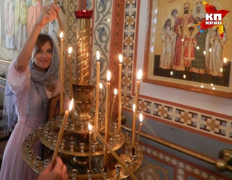 Наталья Поклонская с дочерью Анастасией посетили богослужение