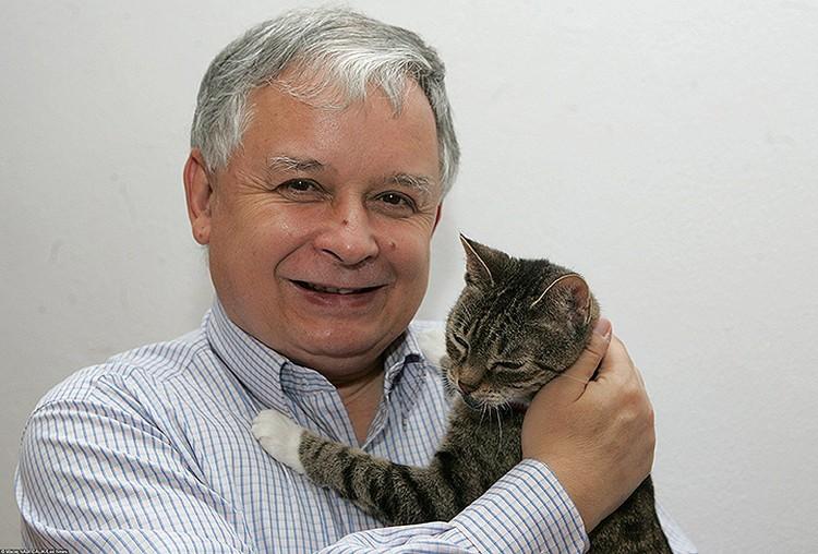 Лех Качиньский с любимым котом.