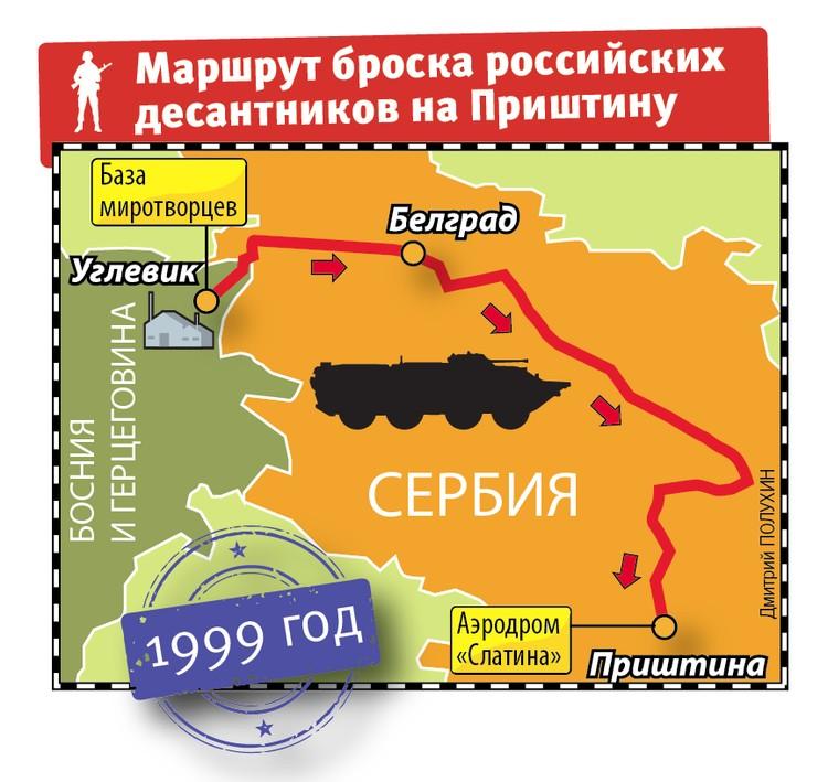 Маршрут броска российских десантников на Приштину
