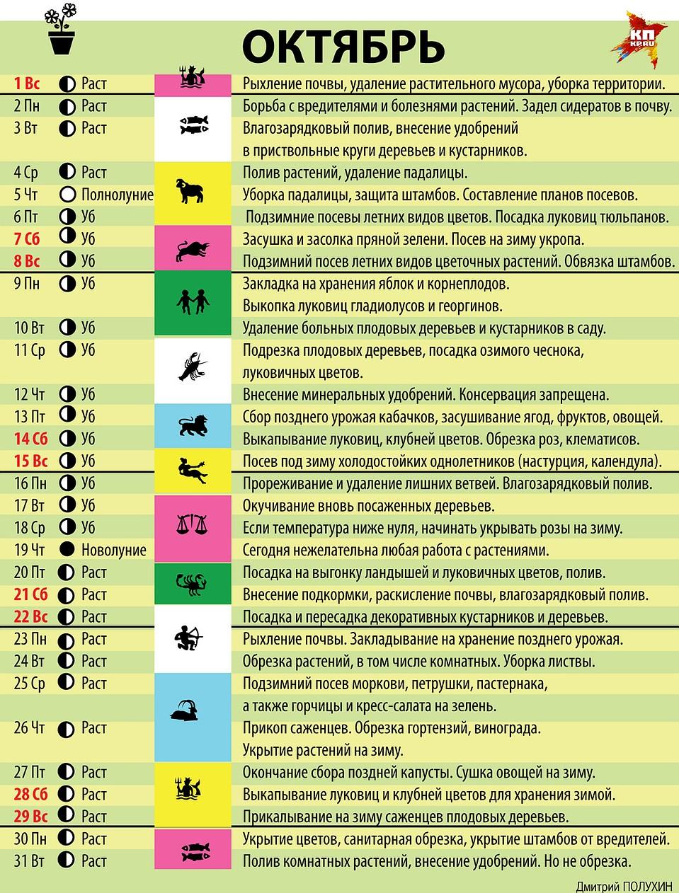 лунный календарь на октябрь фото перекладываю кастрюлю