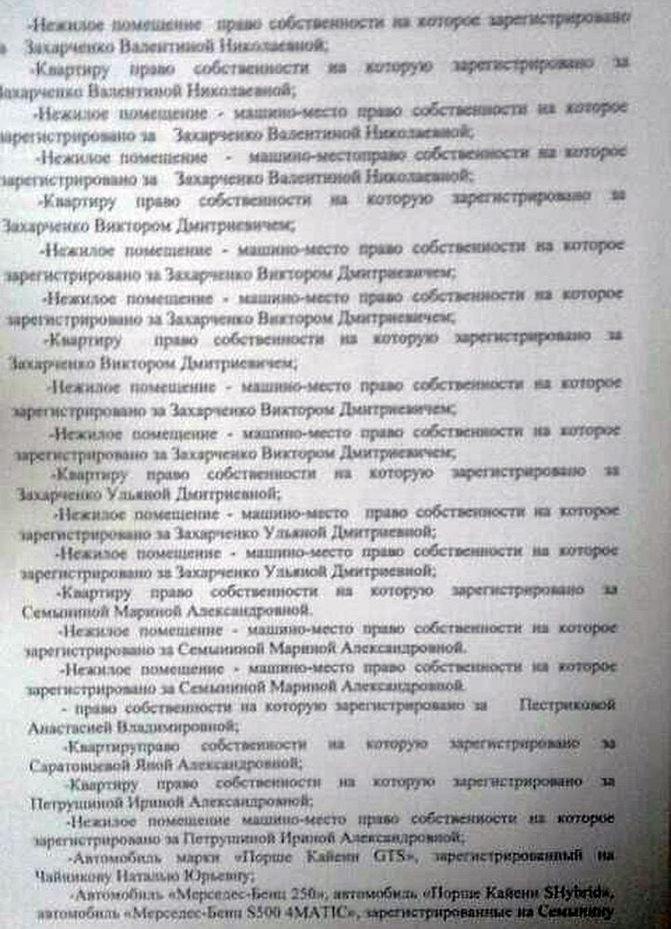 Cписок изъятого имущества у полковника Захарченко
