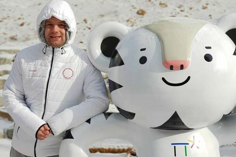 Семен Павличенко с талисманом Олимпиады в Пхенчхане тигренком Сухорангом. Фото: личный архив Семена Павличенко.