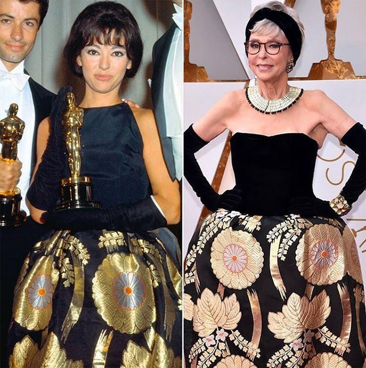Рита Морено реально поразила многих своим нарядом. Актриса пришла на церемонию в платье, в котором она получала свой «Оскар» в 1962-м году