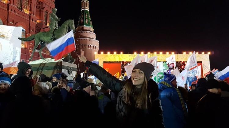 Корреспондент КП Алиса Титко на митинге-концерте «Россия. Севастополь. Крым»