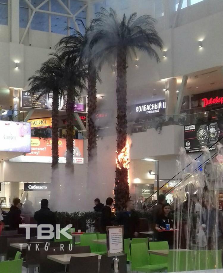 Пожар в ТРЦ «Планета» в феврале 2018 года. Фото: ТВК