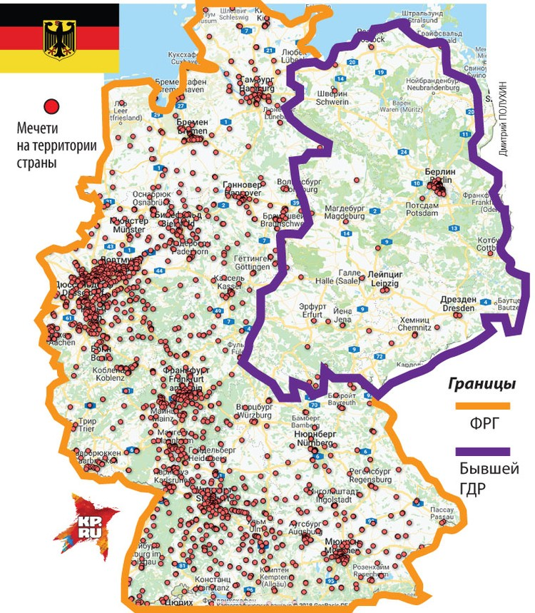 Количество мечетей в бышей ГДР в сравнении с остальной Германией.