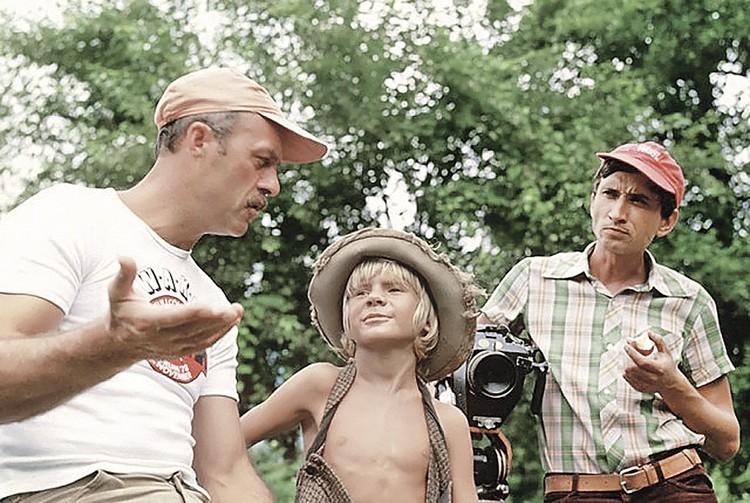 Говорухин с Владом Галкиным на съемках «Приключений Тома Сойера».