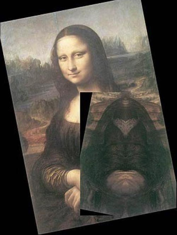"""На Моне Лизе тоже """"зашифровано"""" некое изображение, выявляемой с помощью зеркала."""