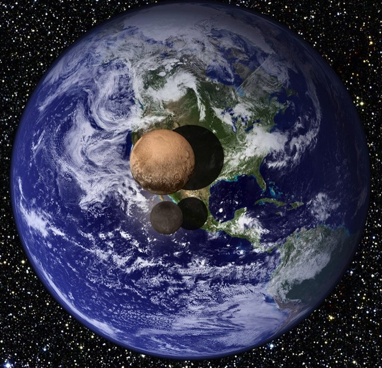 Сравнение Земли с Плутоном и Хароном.