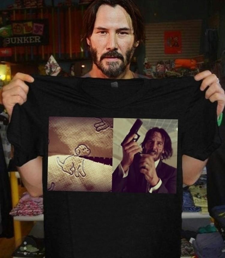 Предложили и вот такой вариант рисунка для футболки - Джон Уик и собака