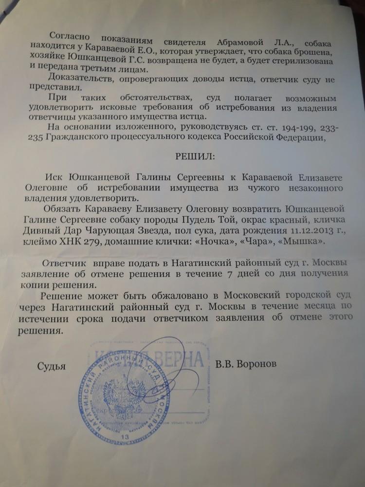 И суд подтвердил правоту хозяйки: Елизавета Караваева должна вернуть ей красную суку Чарку... Вот только почему-то не возвращает.