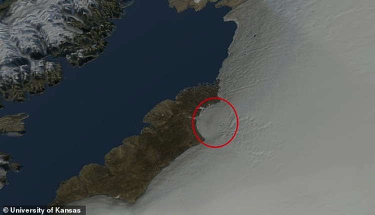 Так место расположения кратера выглядит с высоты.