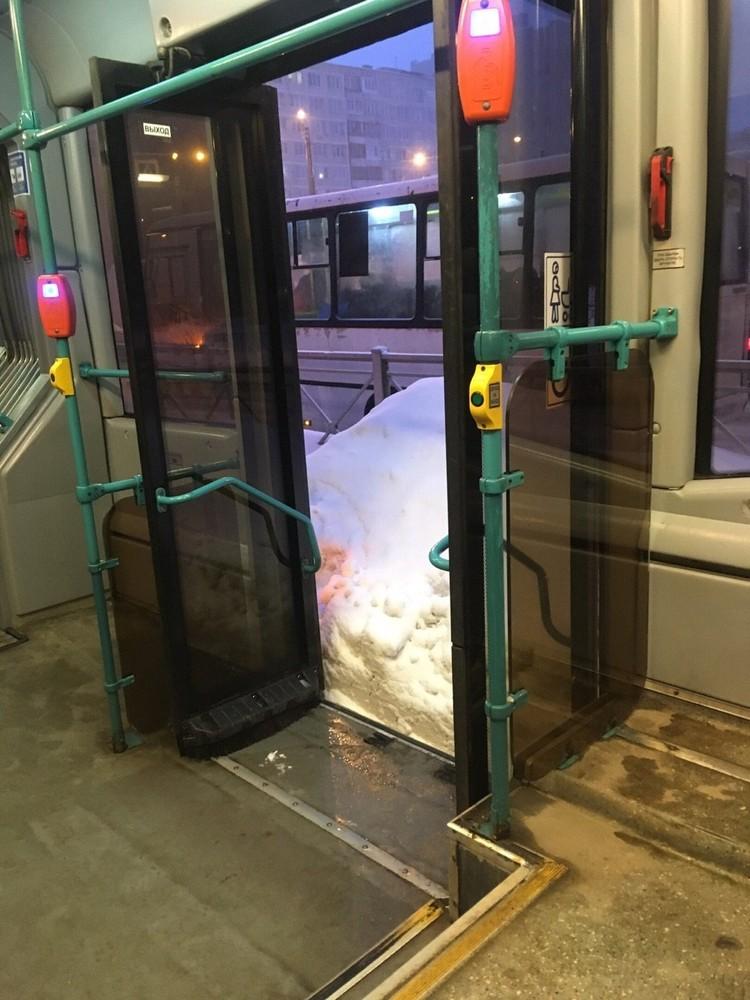 Так выглядит остановка на Будапештской улице. Из автобуса - в сугроб. Фото: социальные сети.