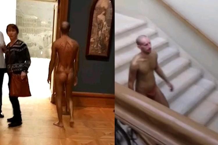 Прогулявшись по залам галереи, мужчина в стрингах спустился вниз.