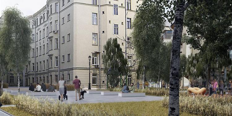 Около театра Олега Табакова в Басманном районе улицу Чаплыгина и Большой Харитоньевский переулок превратят в новые пешеходные зоны. Фото: mos.ru